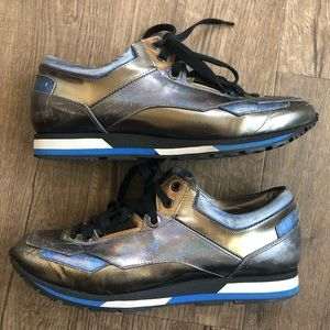 Lanvin Blue Silver Holographic Runners Sneakers 39